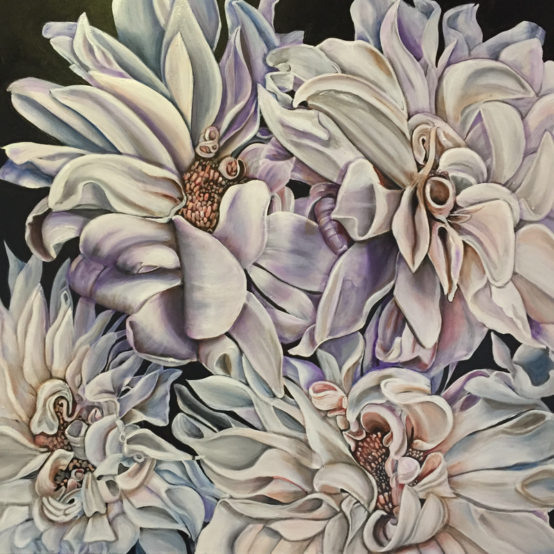 (CreativeWork) Dahlias by Marianne Ulbrick. arcylic-painting. Shop online at Bluethumb.