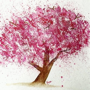 (CreativeWork) Cherry Blossom by Hana Obsidian. watercolour. Shop online at Bluethumb.