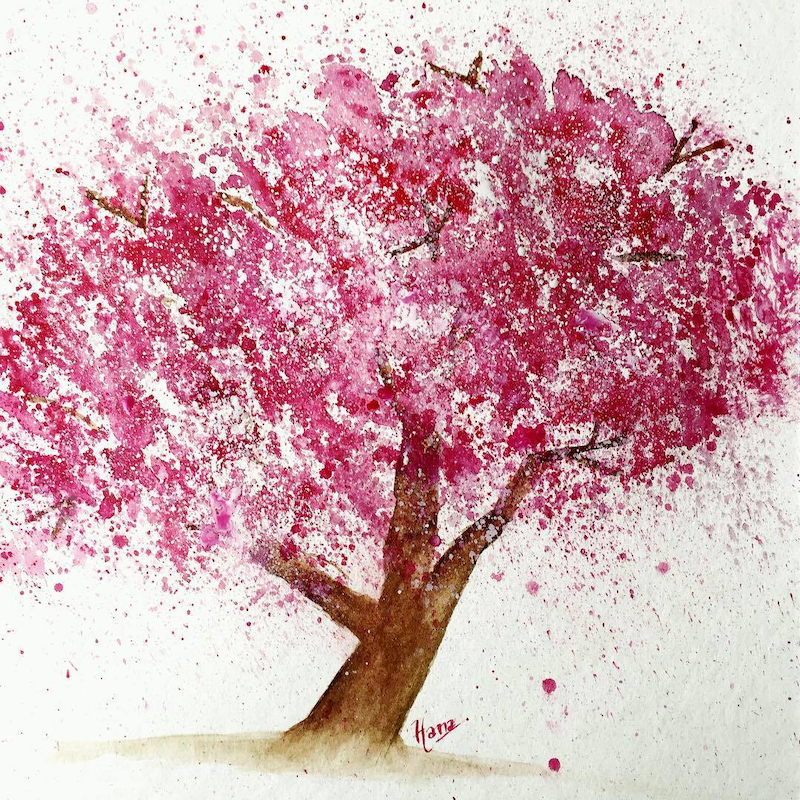(CreativeWork) Cherry Blossom by Hana Obsidian. Watercolour Paint. Shop online at Bluethumb.
