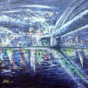 (CreativeWork) Under the Harbour Bridge  by Meri Andric. arcylic-painting. Shop online at Bluethumb.
