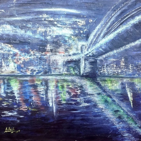 (CreativeWork) Under the Harbour Bridge  by Meri Andric. Acrylic Paint. Shop online at Bluethumb.