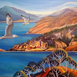 (CreativeWork) Flying High over Freycinet by Susan Skuse. oil-painting. Shop online at Bluethumb.