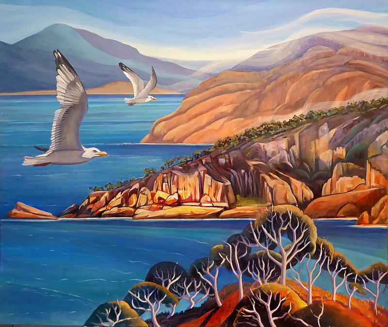 (CreativeWork) Flying High over Freycinet by Susan Skuse. Oil Paint. Shop online at Bluethumb.
