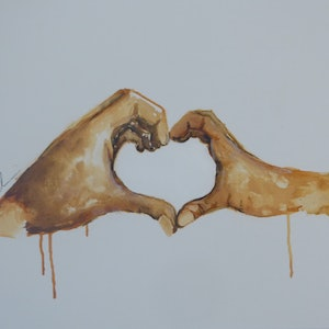 (CreativeWork) hold my hand by Leah Dodd. arcylic-painting. Shop online at Bluethumb.