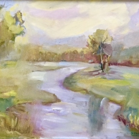 (CreativeWork) River Green by Kryssy Byrne. Oil Paint. Shop online at Bluethumb.