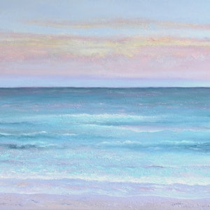 (CreativeWork) Sunset over the Ocean by Jan Matson. oil-painting. Shop online at Bluethumb.