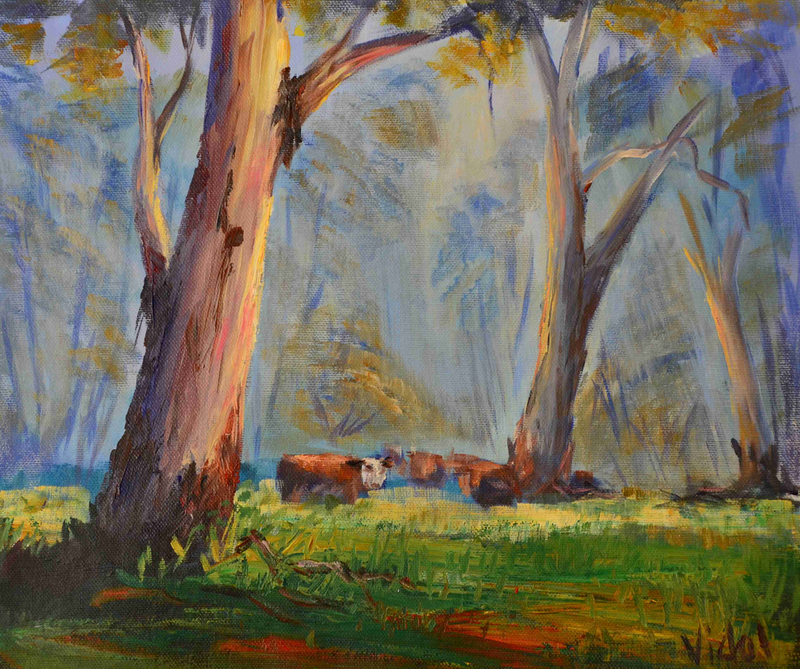 (CreativeWork) Acrylic on canvas - Grazing in the bush by Christopher Vidal. arcylic-painting. Shop online at Bluethumb.