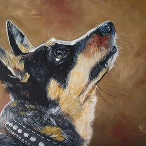 (CreativeWork) Jessie by Julie Hollis. arcylic-painting. Shop online at Bluethumb.
