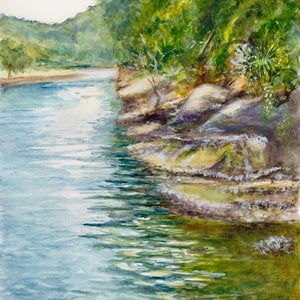 (CreativeWork) Apple Tree Creek at Bobbin Head by Dai Wynn. watercolour. Shop online at Bluethumb.