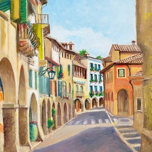 (CreativeWork) Via Browning, Asolo, Veneto, Italy by Dai Wynn. oil-painting. Shop online at Bluethumb.