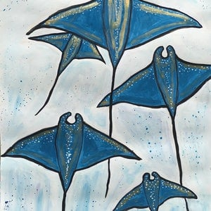 (CreativeWork) Stingrays by Jen Harris. mixed-media. Shop online at Bluethumb.