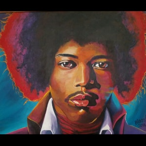 (CreativeWork) Jimi in lights  by Margaret Marshall. arcylic-painting. Shop online at Bluethumb.