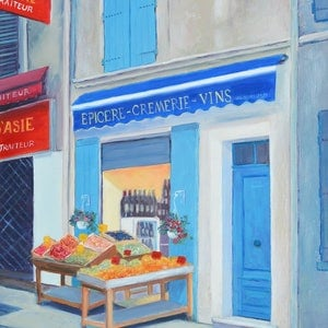 (CreativeWork) The Wine Shop, Nimes, France by Jan Matson. oil-painting. Shop online at Bluethumb.