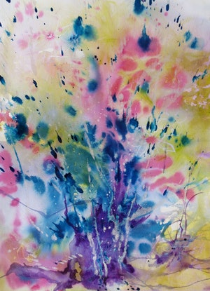 (CreativeWork) A Splash of Spring by Cathy Gilday. Mixed Media. Shop online at Bluethumb.