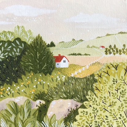 (CreativeWork) Country Cottage by Daniella Germain. Acrylic. Shop online at Bluethumb.