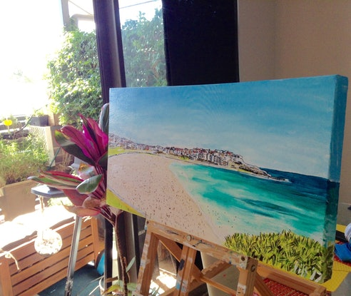 (CreativeWork) BONDI BEACH VIEWS/BEACH ART by Gillian Fahey. Acrylic Paint. Shop online at Bluethumb.