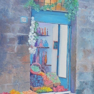 (CreativeWork) The Fruit Shop, Siena, Italy by Jan Matson. oil-painting. Shop online at Bluethumb.