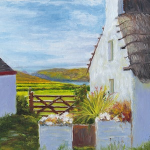 (CreativeWork) Calf of Man from Cregneash Village by Dai Wynn. oil-painting. Shop online at Bluethumb.