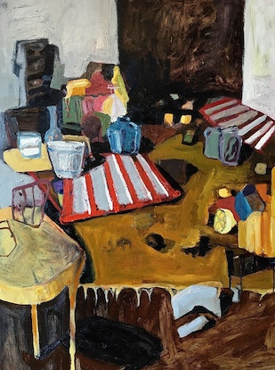 (CreativeWork) Yellow Table by Joanna Gambotto. Oil Paint. Shop online at Bluethumb.
