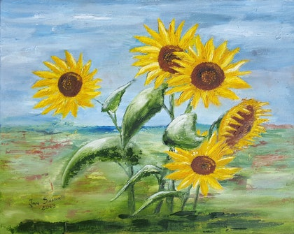 (CreativeWork) Sunflowers by Jan Sikora. oil-painting. Shop online at Bluethumb.