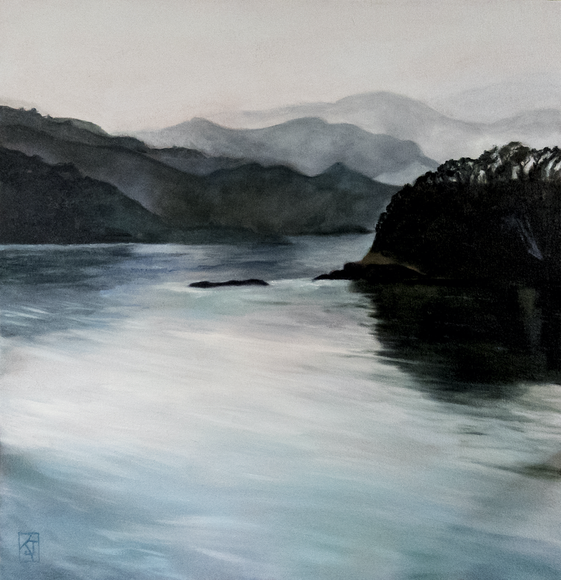 (CreativeWork) Mysterious Waters by Kadira Jennings. oil-painting. Shop online at Bluethumb.