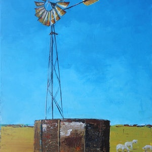 (CreativeWork) Rusty Windmill by Rhonda Hodge. print. Shop online at Bluethumb.