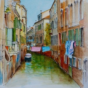 (CreativeWork) Laundry Day in Venice, Italy by Dai Wynn. watercolour. Shop online at Bluethumb.