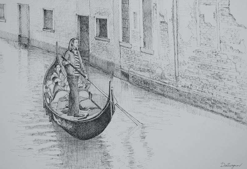 (CreativeWork) Gondolier on  Venetian Canal, Italy by Dai Wynn. drawing. Shop online at Bluethumb.