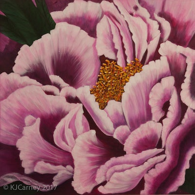 (CreativeWork) Peony by Kay Carney. Acrylic Paint. Shop online at Bluethumb.