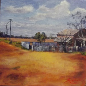 (CreativeWork) The Corrugated Iron Fence by Hazell Ray-Billington. acrylic-painting. Shop online at Bluethumb.