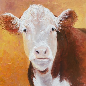 (CreativeWork) Hereford Cow - framed by Jan Matson. oil-painting. Shop online at Bluethumb.