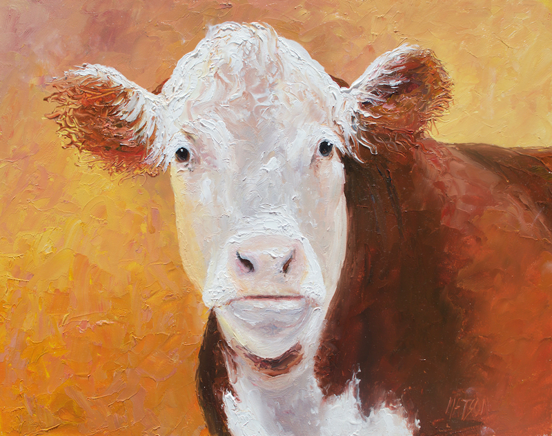 (CreativeWork) Hereford Cow by Jan Matson. oil-painting. Shop online at Bluethumb.