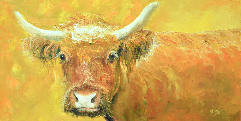 (CreativeWork) Red Cow with horns by Jan Matson. oil-painting. Shop online at Bluethumb.