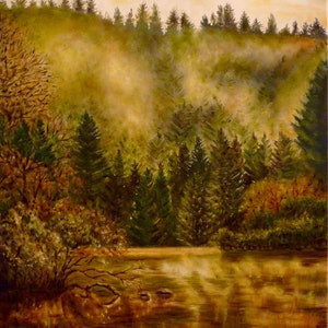 (CreativeWork) Golden Lake by Cathy Yarwood - Mahy. oil-painting. Shop online at Bluethumb.