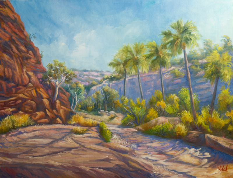 (CreativeWork) Oil on Italian Linen - Palm Valley, West MacDonnell Ranges NT by Christopher Vidal. oil-painting. Shop online at Bluethumb.