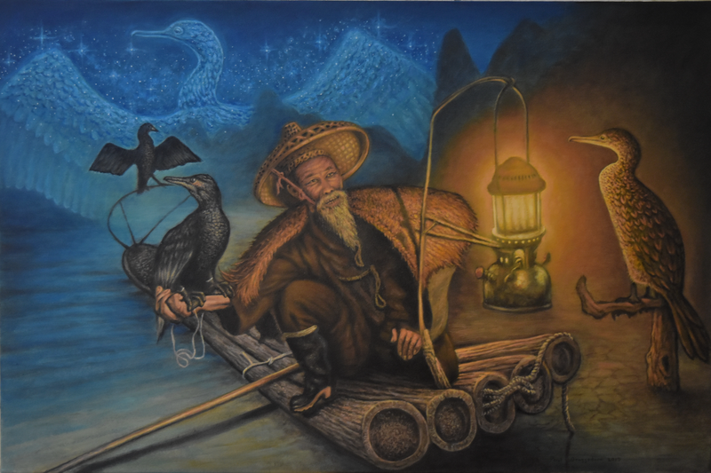(CreativeWork) Cormorant fisherman by PAUL BRAZZODURO. oil-painting. Shop online at Bluethumb.