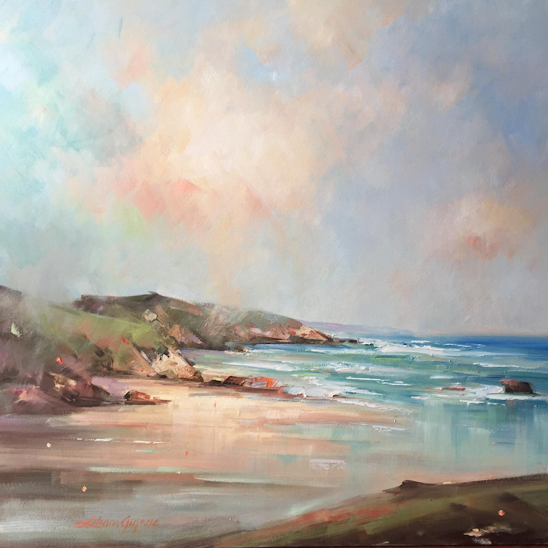 (CreativeWork) Sorrento Ocean beach by Liliana Gigovic. oil-painting. Shop online at Bluethumb.